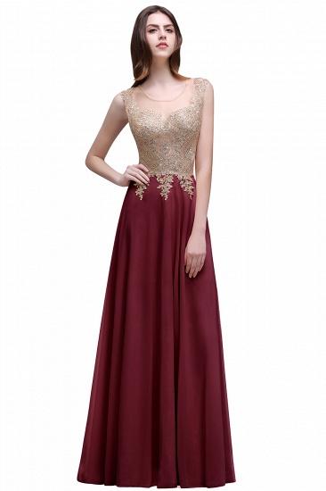 BMbridal Elegant Sheer Lace Applique Chiffon Floor Length Long Evening Dress_1
