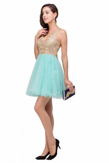 BMbridal Short Tulle A-line V-Neck Appliques Sleeveless Prom Dress_8