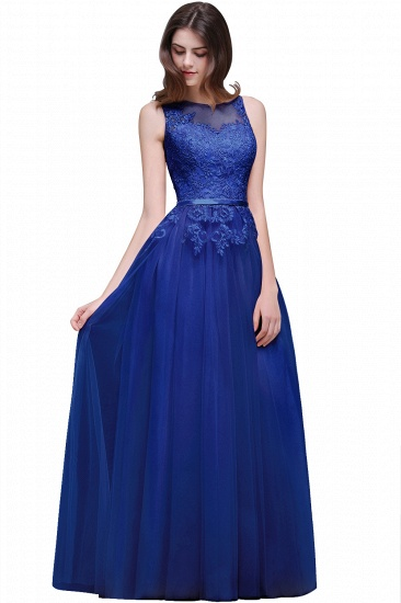 BMbridal Lace Sleeveless Long Tulle Prom Dress_5