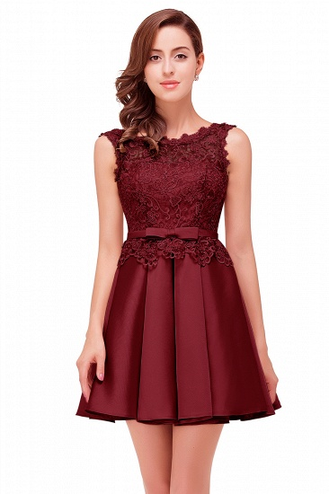 BMbridal A-line Knee-length Satin Homecoming Dress with Lace_3