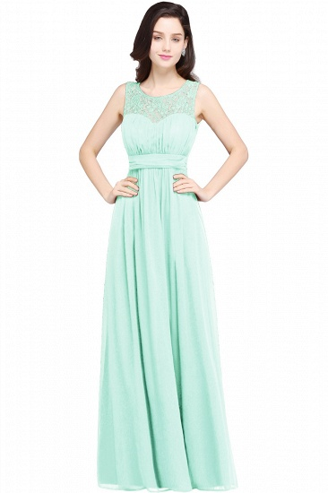 Elegant Lace Chiffon Affordable Long Navy Bridesmaid Dresses In Stock_7