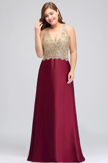 BMbridal V-neck Satin Floor-Length A-Line Appliques Backless Prom Dress_7
