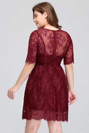 BMbridal Plus size Jewel Burgundy Affordable Bridesmaid Dress with Short Sleeves_5