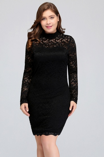 Plus Size Mermaid High-Neck Lace Short Bridesmaid Dress with Long Sleeves_4