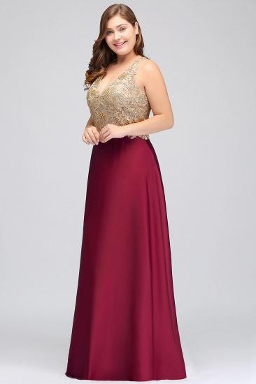 BMbridal V-neck Satin Floor-Length A-Line Appliques Backless Prom Dress_5