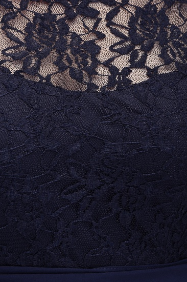 Affordable Lace Scoop Dark Navy Bridesmaid Dresses with Half-Sleeves_7