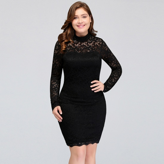 BMbridal High Neck Long Sleeve Lace Black Sexy Cocktail Dress_6