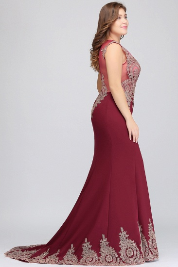 BMbridal Mermaid Court Train Chiffon Evening Dress with Appliques_8