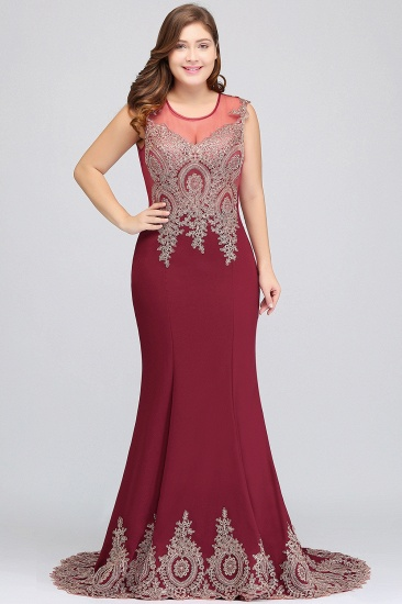 BMbridal Mermaid Court Train Chiffon Evening Dress with Appliques_9