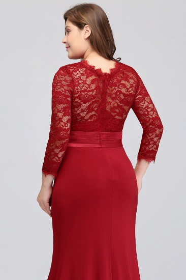 Plus Size Mermaid Long Red Lace Bridesmaid Dresses with 3/4 Sleeves_10