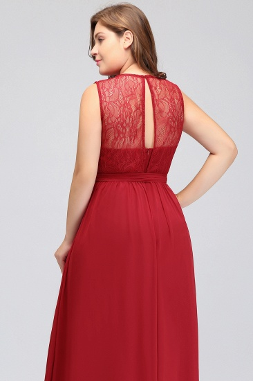 Plus Size Jewel Sleeveless Red Lace Long Bridesmaid Dress with Ruffle_9