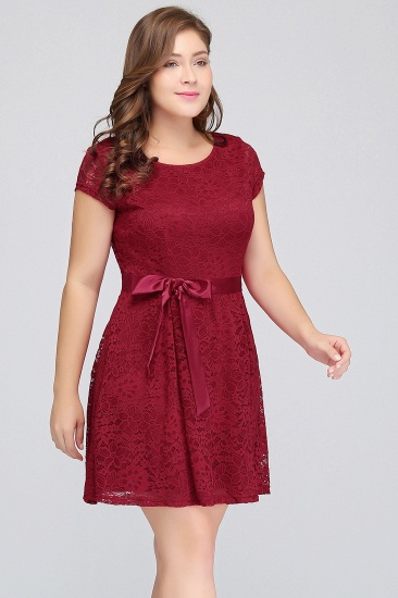 Plus Size A-Line Jewel Burgundy Lace Bridesmaid dress with Short Sleeves_6