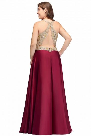 BMbridal V-neck Satin Floor-Length A-Line Appliques Backless Prom Dress_9