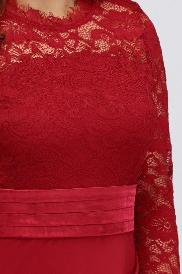 Plus Size Mermaid Long Red Lace Bridesmaid Dresses with 3/4 Sleeves_8