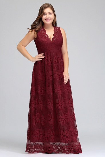 Plus Size A-Line V-Neck Burgundy Lace Bridesmaid Dress Online_5