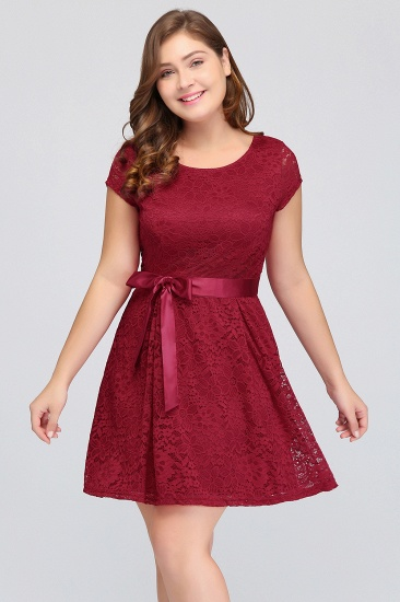 BMbridal Plus Size A-Line Jewel Burgundy Lace Bridesmaid dress with Short Sleeves_7