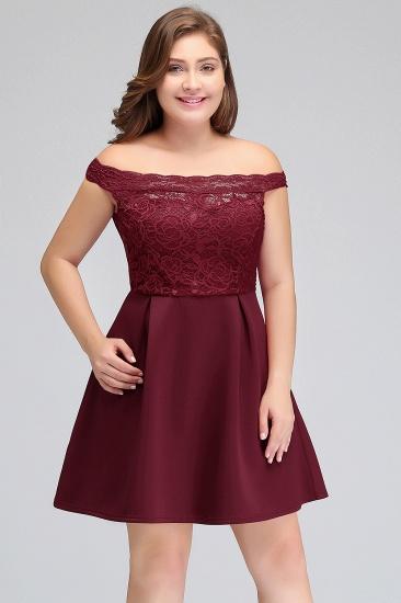 BMbridal A-Line Off-the-shoulder Short Lace Burgundy Homecoming Dress_5