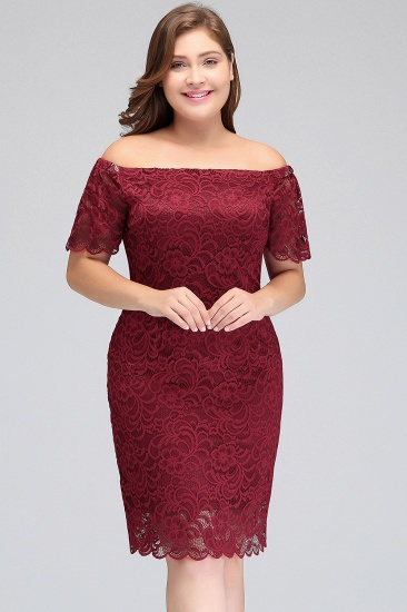 BMbridal Burgundy Lace Sheath Homecoming Dress Short Sleeves Cocktail Dress_7
