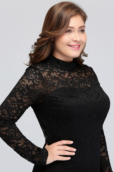 BMbridal Plus Size Mermaid High-Neck Lace Short Bridesmaid Dress with Long Sleeves_8