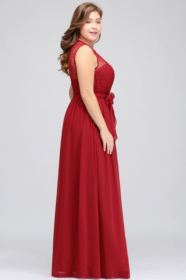 Plus Size Jewel Sleeveless Red Lace Long Bridesmaid Dress with Ruffle_5