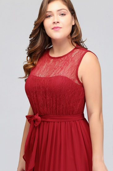 Plus Size Jewel Sleeveless Red Lace Long Bridesmaid Dress with Ruffle_8