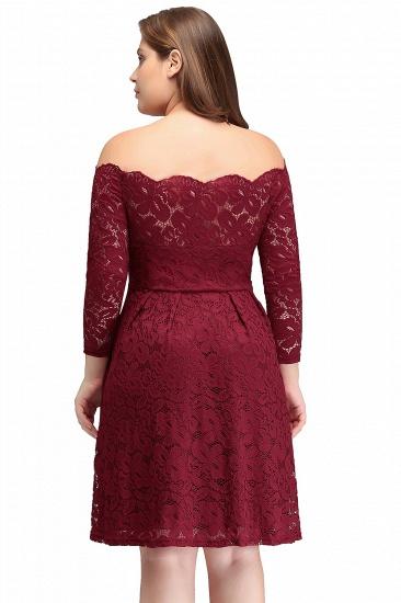 BMbridal A-Line Off-the-Shoulder Short Lace Burgundy Homecoming Dress_6