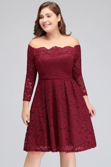 BMbridal A-Line Off-the-Shoulder Short Lace Burgundy Homecoming Dress_4