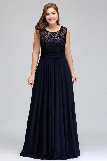 Plus Size Lace Jewel Long Bridesmaid Dress Online with Ruffle_5
