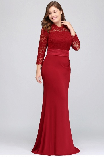 Plus Size Mermaid Long Red Lace Bridesmaid Dresses with 3/4 Sleeves_6
