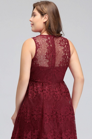 Plus Size A-Line V-Neck Burgundy Lace Bridesmaid Dress Online_8