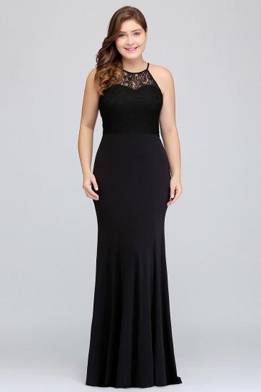 Plus Size Mermaid Square Lace Black Bridesmaid Dress Online_4