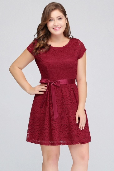 Plus Size A-Line Jewel Burgundy Lace Bridesmaid dress with Short Sleeves_5