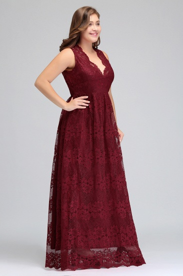 Plus Size A-Line V-Neck Burgundy Lace Bridesmaid Dress Online_6