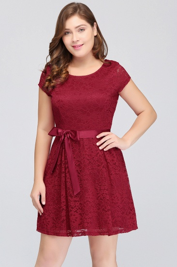 Plus Size A-Line Jewel Burgundy Lace Bridesmaid dress with Short Sleeves_8