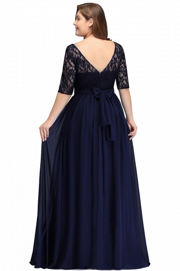 BMbridal Half-Sleeve Lace Long Chiffon Evening Dress_12