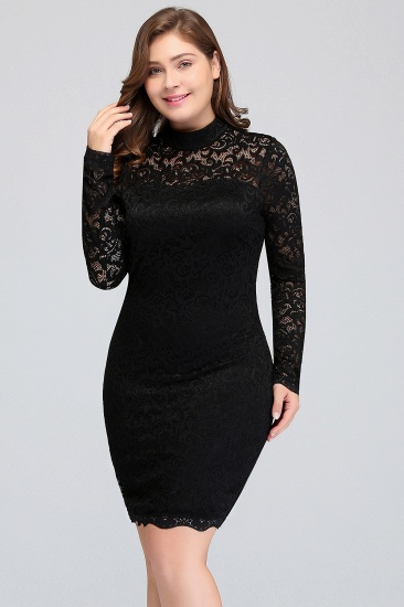 Plus Size Mermaid High-Neck Lace Short Bridesmaid Dress with Long Sleeves_2