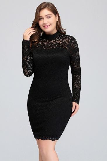 Plus Size Lace Long Sleeves Short Bridesmaid Dress