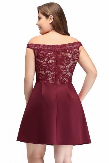 BMbridal A-Line Off-the-shoulder Short Lace Burgundy Homecoming Dress_3