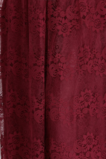 Plus Size A-Line V-Neck Burgundy Lace Bridesmaid Dress Online_9