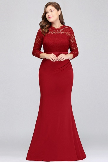 Plus Size Mermaid Long Red Lace Bridesmaid Dresses with 3/4 Sleeves_4