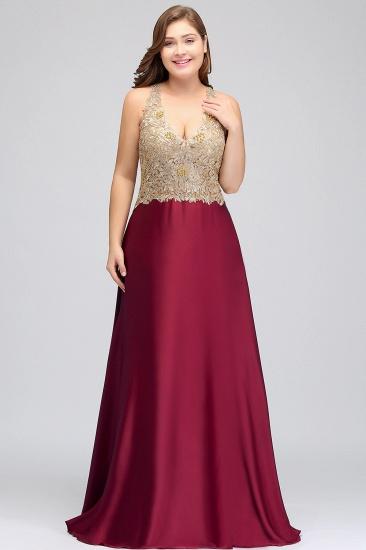 BMbridal V-neck Satin Floor-Length A-Line Appliques Backless Prom Dress_6