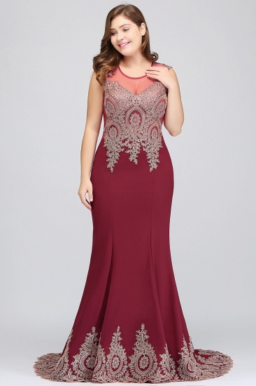 BMbridal Mermaid Court Train Chiffon Evening Dress with Appliques_10