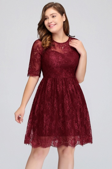 Plus size Jewel Short Sleeves Burgundy Bridesmaid Dress