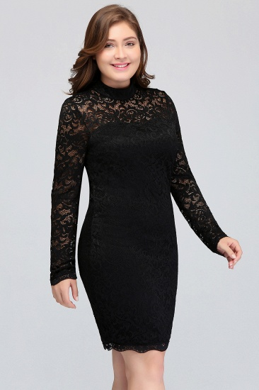 Plus Size Mermaid High-Neck Lace Short Bridesmaid Dress with Long Sleeves_7