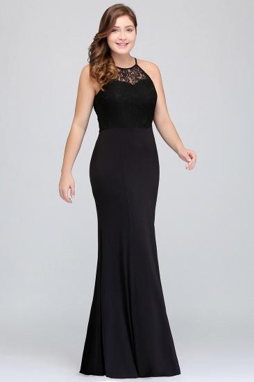 Plus Size Mermaid Square Lace Black Bridesmaid Dress Online_6
