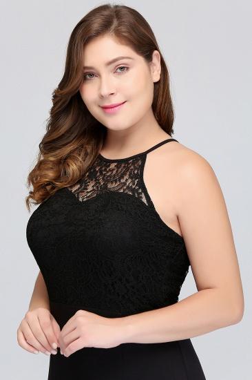 Plus Size Mermaid Square Lace Black Bridesmaid Dress Online_8