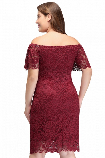 BMbridal Burgundy Lace Sheath Homecoming Dress Short Sleeves Cocktail Dress_8