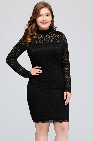BMbridal Plus Size Mermaid High-Neck Lace Short Bridesmaid Dress with Long Sleeves_6