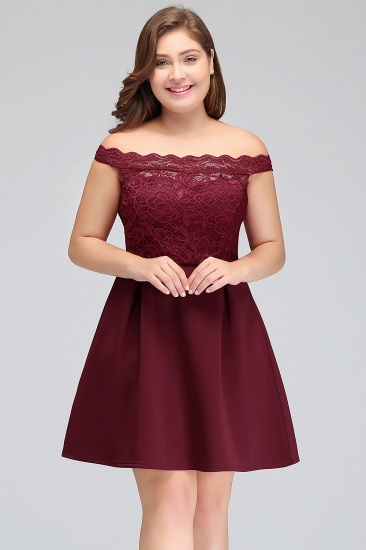 BMbridal A-Line Off-the-shoulder Short Lace Burgundy Homecoming Dress_2