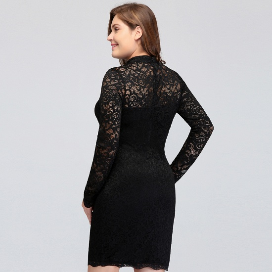 BMbridal High Neck Long Sleeve Lace Black Sexy Cocktail Dress_7